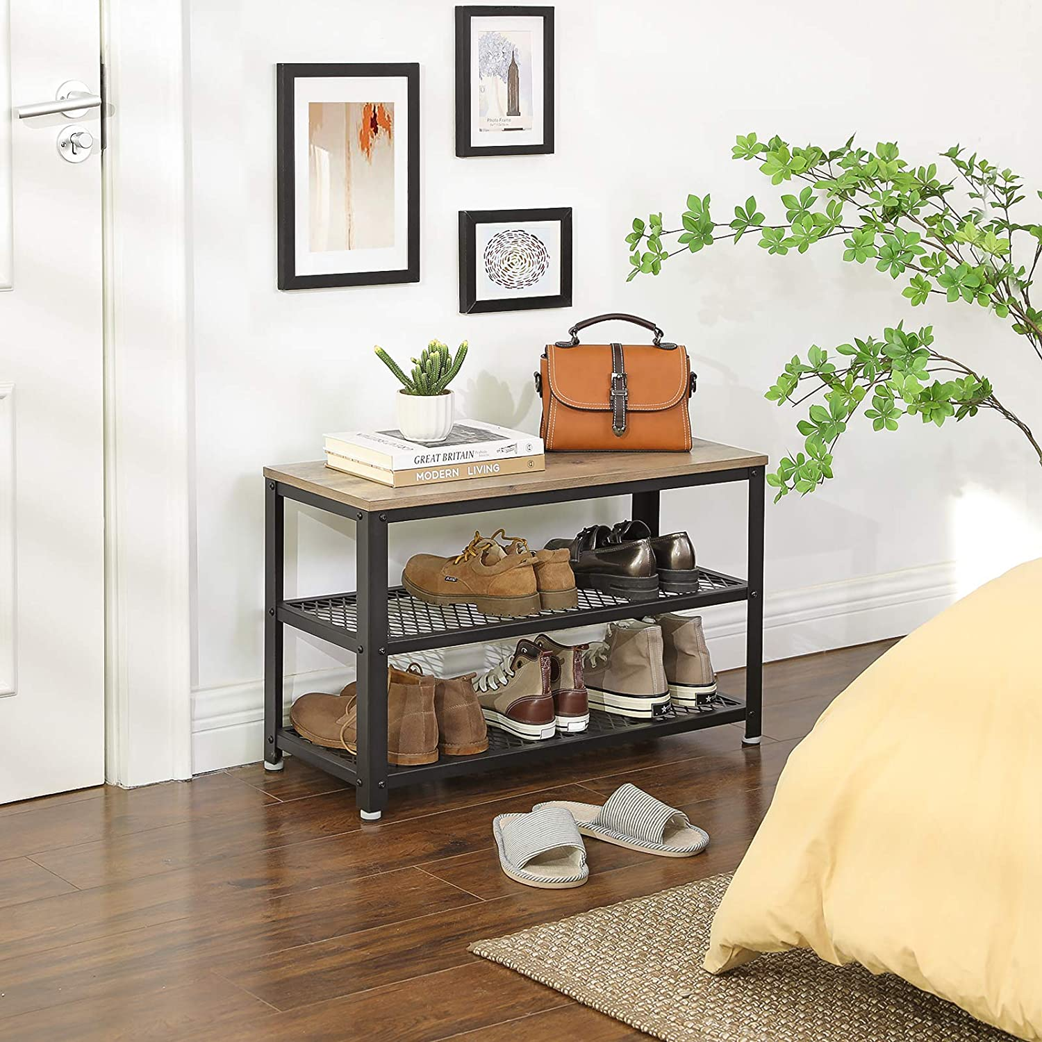 Industrial Design Accent Furniture for Entryway 3-Tier Shoe Rack Living Room Hazelnut Brown and Black ULBS073B03 Storage Shelves with Seat Steel Frame Hallway VASAGLE Shoe Bench