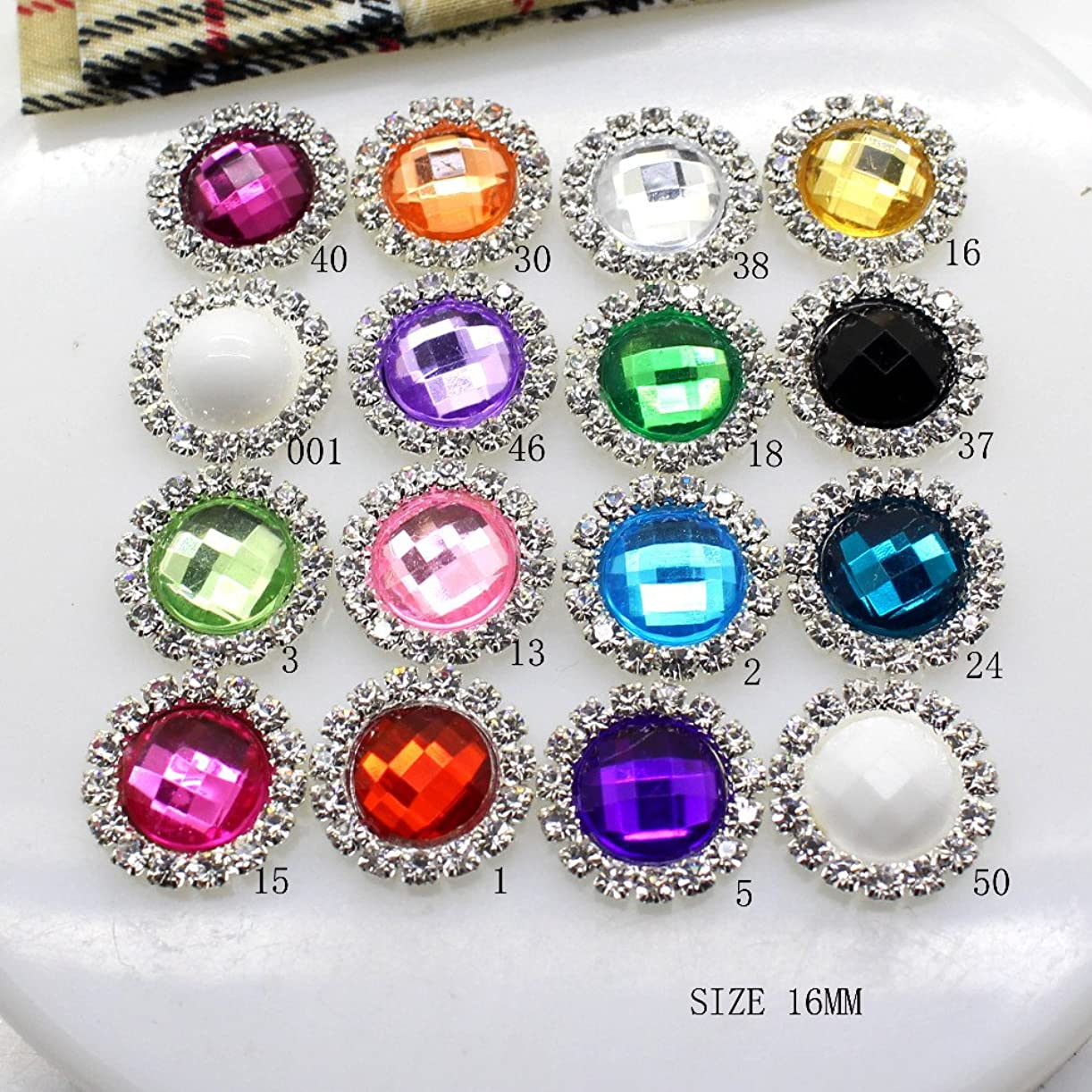 Propenary - 10個入り/ LOTアクリル16MMラインストーンのボタンDIYダイヤモンドのボタンの招待ゲイルヘアちょう結びフラワーアクセサリー