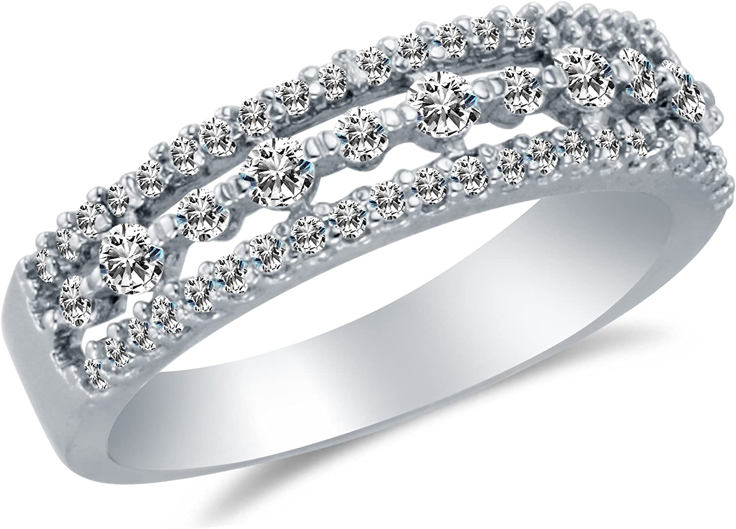 Solid 14K White Gold CZ Cubic Zirconia Wedding or Anniversary Ring Band
