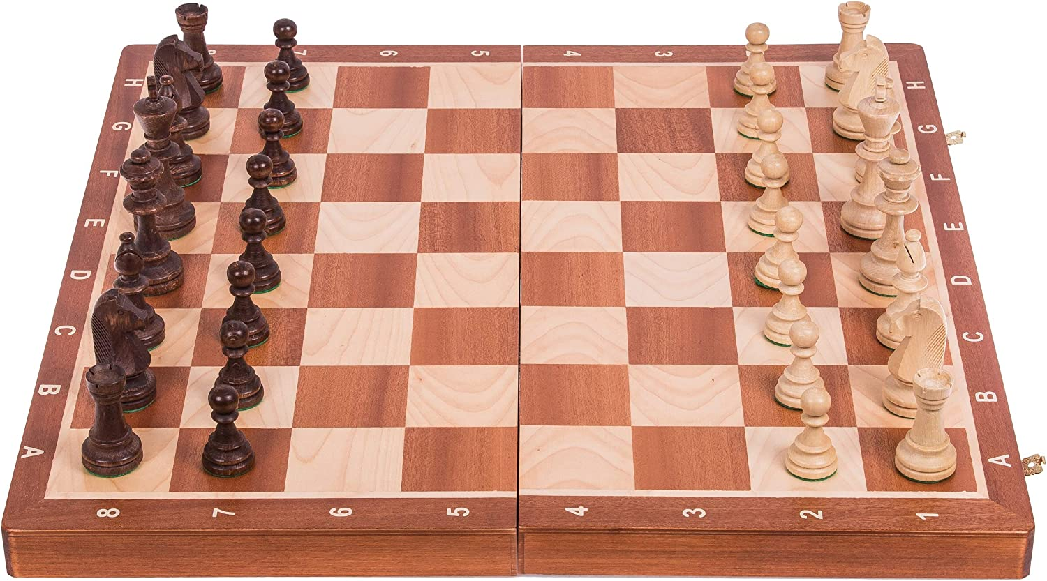 SQUARE  Wooden Chess Tournament No. 6  MAHOGANY  Chessboard & Chess Pieces