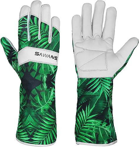 Gants de jardinage en cuir pour femme et homme - Protection de l'avant-bras - Anti-épines - Respirant - Spandex - Cui...