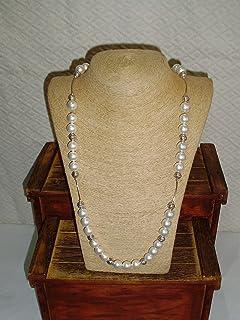 Collar largo de perla de nácar en Plata largo 100 cm y cerrado 50 cm.