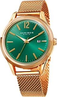 Akribos XXIV Men's Quartz Watch - Accented Sunray Dial with Date Window on Mesh Stainless Steel Bracelet Watch - AK920