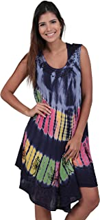 M&B USA Women's Casual Dress Tie Dye Embroidered Summer Beach Cover Up