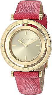 ساعة مايكل كورس افيري للنساء بمينا ذهبي وبسوار جلدي - MK2525