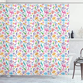 Birthday Decorations Shower Curtain by, Colorful Sketch of Balloons Flowers Lollipops Presents and Cakes Kids, Fabric Bath...