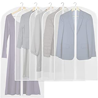 5 Pack - Simplehouseware 40-Inch Translucent Garment Bags with Zipper for Suits, Dresses, Costumes, Uniforms