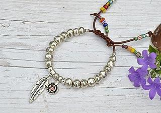 Bracciale pelle regolabile fatto a mano con perline d'argento per le donne