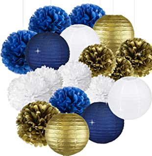 Sogorge 18pcs White Navy Blue Gold 8inch 10inch Tissue Paper Pom Pom Paper Flowers Paper Honeycomb Paper Lanterns for Navy Blue Themed Party,Party Decoration Bridal Shower Decor Baby Shower Decoration