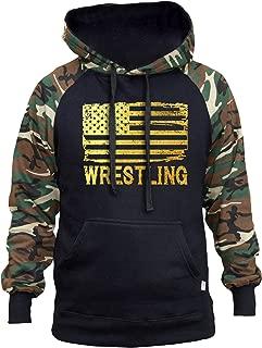 Interstate Apparel Men's Gold Foil Wrestling American Flag Black/Camo Raglan Baseball Hoodie Black