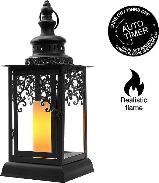 JHY 设计黑色装饰灯笼 18h 蜡烛灯笼钢化玻璃跳舞火焰 LED 蜡烛 5 小时定时器功能,适用于室内户外活动派对和婚礼
