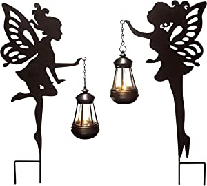 JHBOX Fairy Garden Statue with Solar Lights 2 Pack, Metal Fairy Door Decoration with Ground Stakes, Fairy Garden Accessories Outdoor for Lawn, Patio, Yard, Halloween