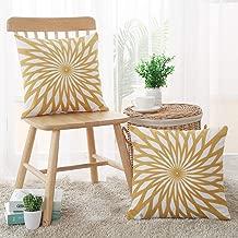 Deconovo Sun Flower Pattern Cushion Covers Soft Cotton Cushion Cases Light Yellow 18x18 Inch Set of 2