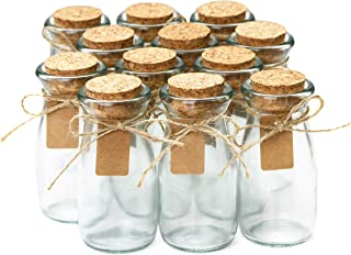 Glass Favor Jars With Cork Lids - Wedding Favors - Apothecary Jars Milk Bottles With Personalized Label Tags and String - 3.4oz [12pc Bulk Set] Ideal For Spices, Candy and Candle Making