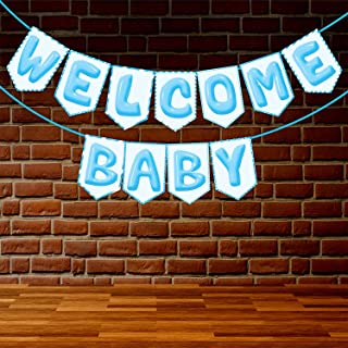 Wobbox Baby Shower Bunting Banner Blue Welcome Baby Boy, Welcome Banner for Decoration, Baby Shower Banner for Decoration