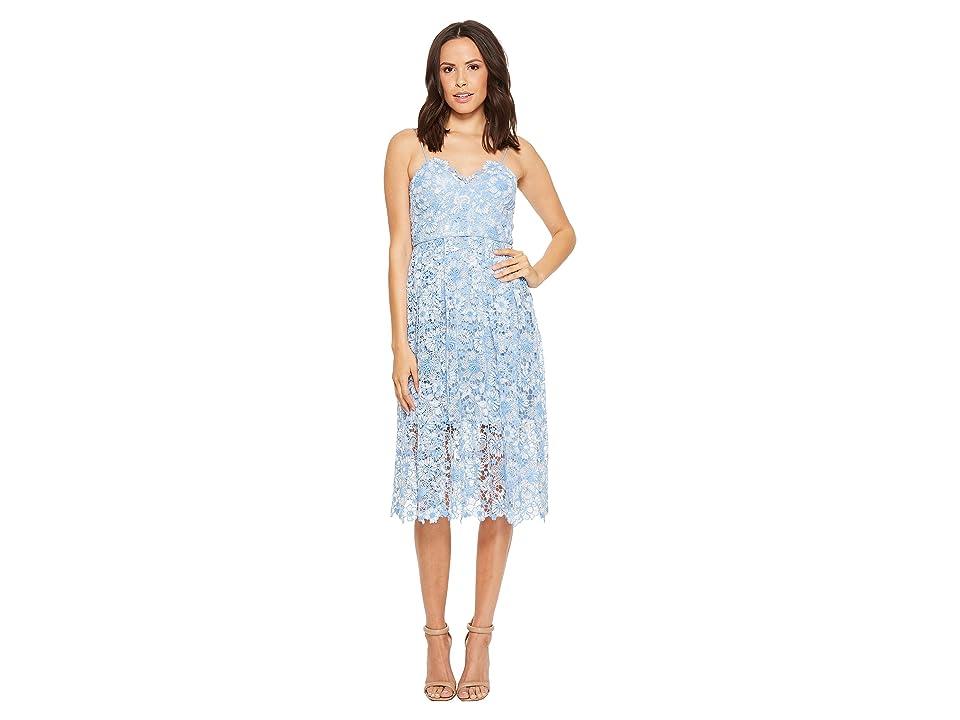 Donna Morgan Spaghetti Strap Lace Midi Dress (Blue Bonnet/White Wash) Women