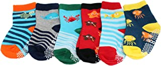 Fun Socks 6-pack Baby Kids Boys Cotton Rich Non-slip Sea Creature Striped Socks