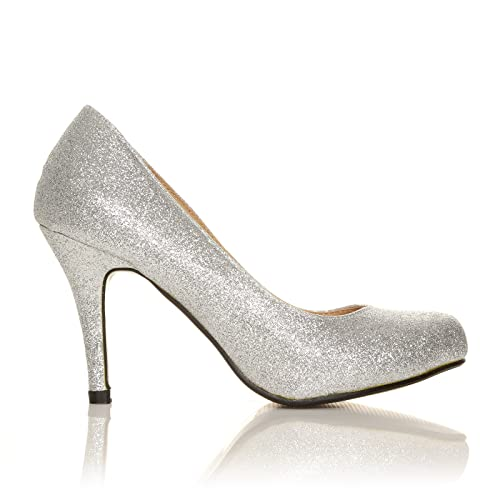 8533070590b7 PEARL Silver Glitter Stiletto High Heel Classic Court Shoes