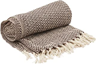 Etroves Throw-65 x 52 Hand-Woven Cotton Blanket Dark Rich Brown White Reversible with Tassels Throws for Couch Sofa Chair-Home Decor Furnishings