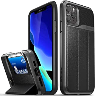 Vena iPhone 11 Pro Max Wallet Case, vCommute (Military Grade Drop Protection) Flip Leather Cover Card Slot Holder with Kickstand, Designed for Apple iPhone Pro Max (6.5 inches) - Space Gray
