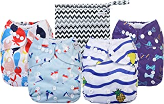 Cloth Diapers 4 Pack Adjustable Size Waterproof Washable Pocket Baby Cloth Diaper Cover and Inserts with Wet bag by Anmaba...