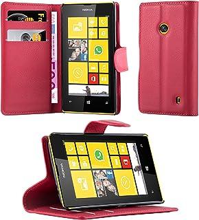 Cadorabo Fodral kompatibelt med Nokia Lumia 520 i KARMIN RÖD - Skyddsfodral med Magnetfäste, Stativfunktion och Kortplats...