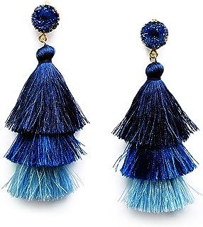 Me&Hz Colorful Layered Fashion Tassel Earrings Bohemian 3 Tier Fringe Statement Big Dangle Drop Earrings for Women Teen Gi...