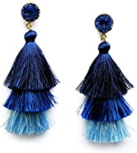 Me&Hz Colorful Layered Tassel Earrings Bohemian 3 Tier Big Dangle Drop Earrings for Women Girls Tiered Tassel Druzy Stud Earrings Women Gifts