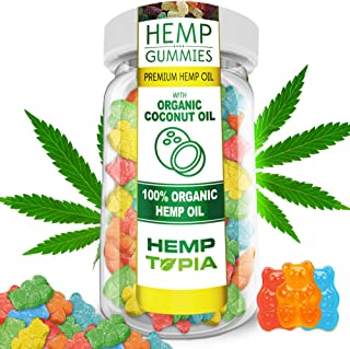 22ct Premium Hemp Gummies - 1100MG - 50mg Per Gummy - Organic Hemp - Stress Relief, Inflammation, Pain, Sleep, Anxiety, Depression, Nausea - Vitamin E, Vitamin B, Omega 3,6,9 and More