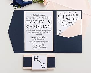 Custom Wedding Invitation Set with Holder and Envelopes, Modern Calligraphy, Hayley Sample
