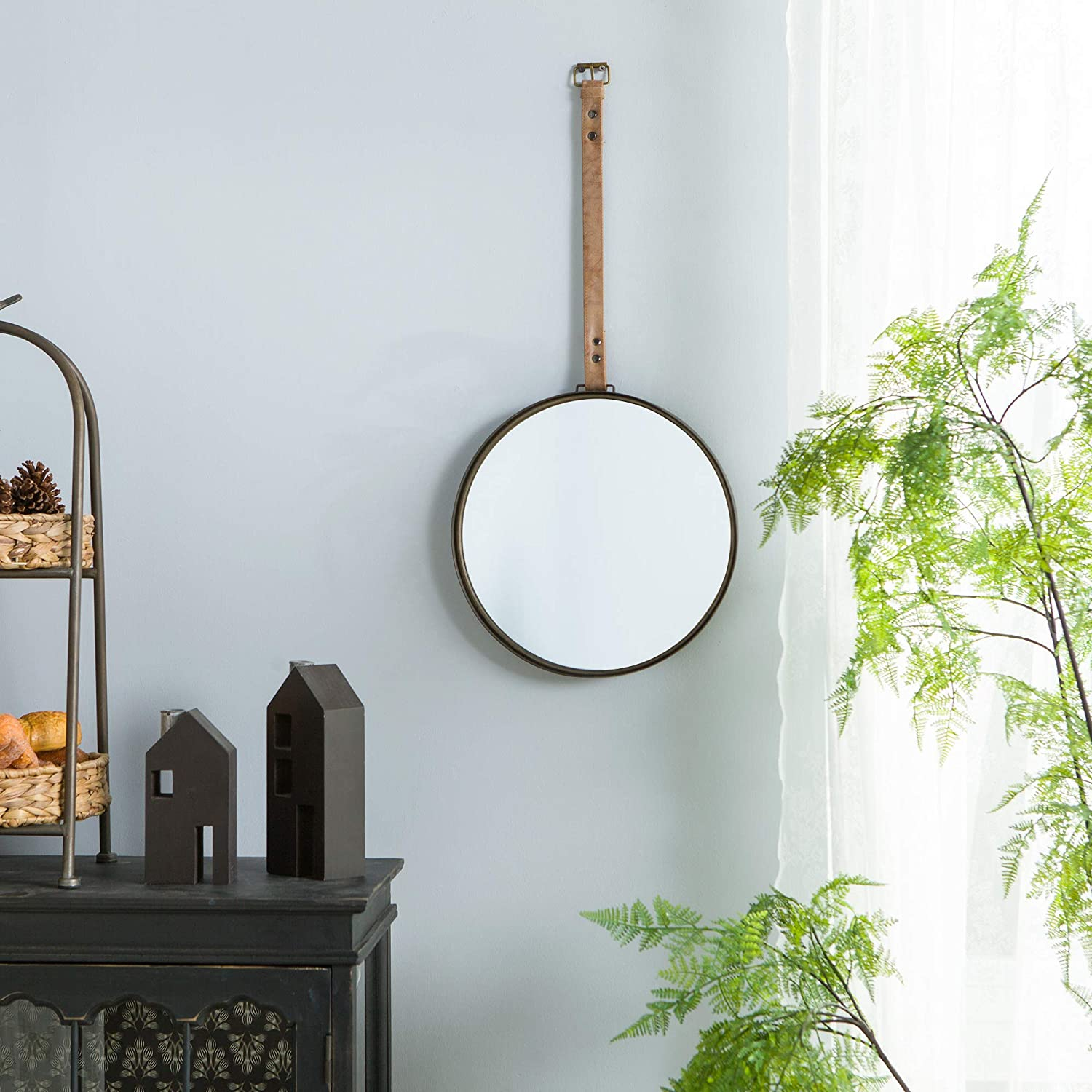 NIKKY HOME Vintage Finally resale start Metal Round Mirror with Wall Max 68% OFF Leather Hanging