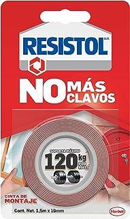 Resistol No Más Clavos Cinta de Montaje, cinta adhesiva doble cara, adhesivo fuerte, pegamento para espejos, cuadros, cana...