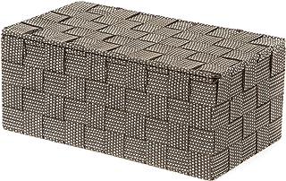 Compactor, Boîte avec Couvercle, Sangle Tressée, Marron, Dimensions: 27 x 15 x H.11 cm, RAN8556