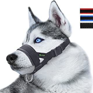 ILEPARK Bozal de Nylon para Perros Grandes Previene Mordidas, Ladridos y Que Mastiquen, Bozal Lazo Ajustable (XL,Negro)