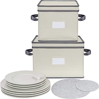 Chapman & Grand Plate Storage Chests (2-Piece Set), Dinnerware Protective Container Box for Dinner, Salad or Dessert Plates (Light Beige-Gray)