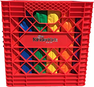 KinderMat, Red KinderCrate, 6-Pack of 13.5 inch KinderCushions and Sturdy Storage Container, 2 inches Thick Squares Story Time Cushions, Alternative Seating, Yellow Blue Green Red Purple Orange