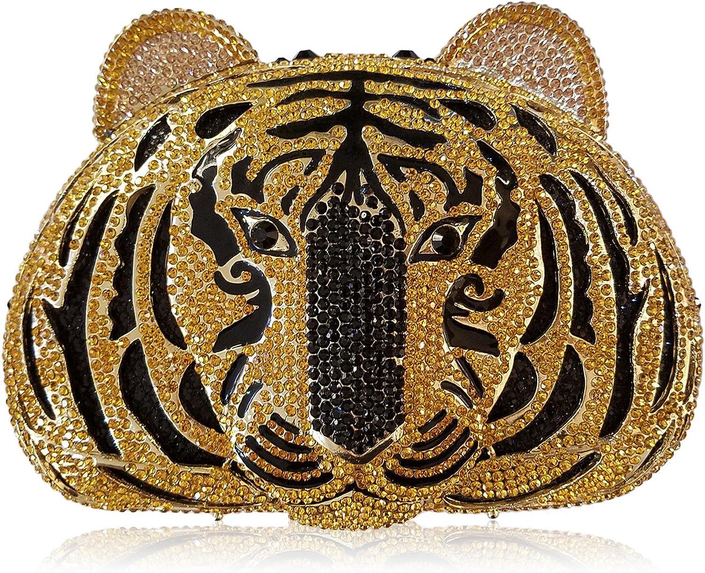 Women Evening Bag Luxury Rhinestone Tiger Dinner Bag Ladies Favorite Handbag Wedding Party Clutch Purse Metal Frame ,C