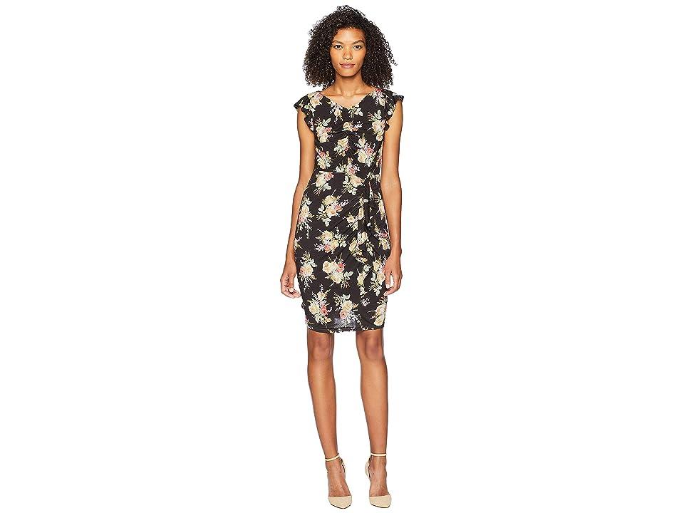 Rebecca Taylor Sleeveless Bouquet Jersey Dress (Black Combo) Women