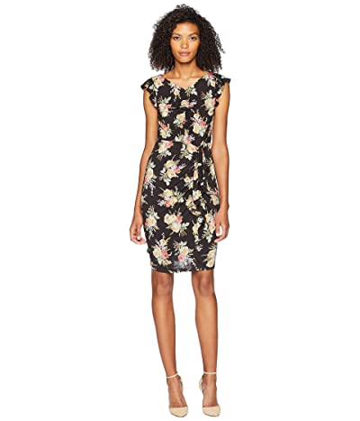 Rebecca Taylor Sleeveless Bouquet Jersey Dress (Black Combo) Women