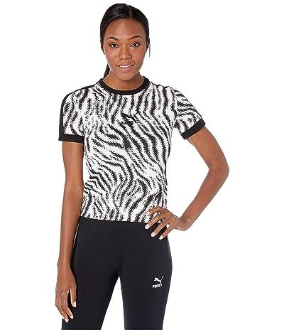 PUMA Wild Pack AOP Tee (Puma White/Zebra AOP) Women