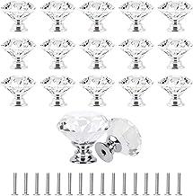 16 Stks 30 mm Crystal Deurknoppen, Diamant Vorm Glas Lade Knop Trek Handvat met Schroeven voor Garderobe Kast Kast (Helde...