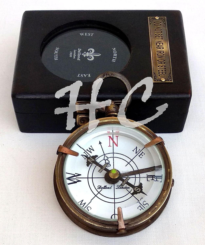 English Compass Wooden Box 1920 Antique Brass Dollond London Nautical Maritime