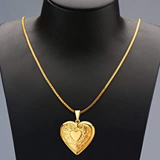 Charm Necklace 18K Gold Plated Heart Shaped Photo Frame Locket Pendant Flower or Cross Locket