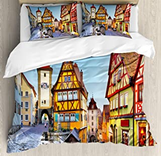 Ambesonne German Duvet Cover Set, Rothenburg ob der Tauber Bavaria Germany Famous Street with Colorful Classic Houses, Decorative 3 Piece Bedding Set with 2 Pillow Shams, Queen Size, Taupe Red