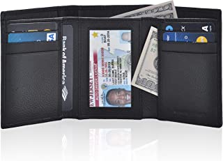 Slim RFID Wallets for Men – Genuine Leather Front Pocket Trifold Wallet
