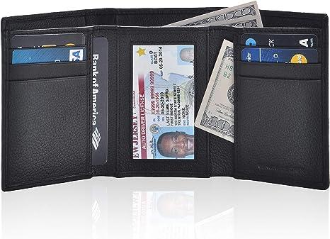 男式超薄 RFID 钱包 - 真皮前袋三折钱包