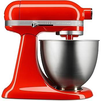 KitchenAid KSM3311XHT Artisan Mini Series Tilt-Head Stand Mixer, 3.5 quart, Hot Sauce (Renewed)