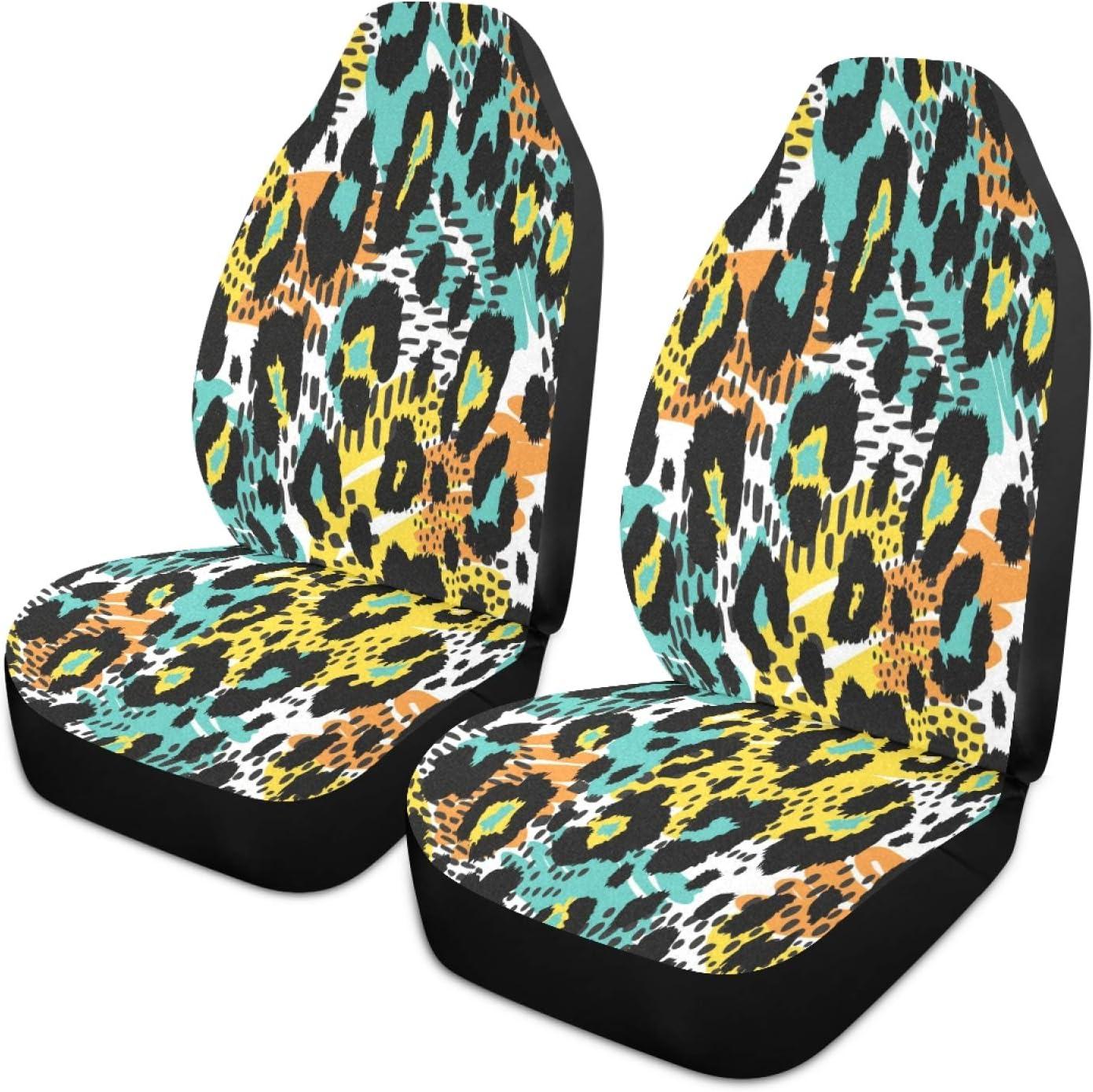 xigua Superlatite 2PCS Fashion Colorful Leopard Direct store Animal Front Print Seat Car
