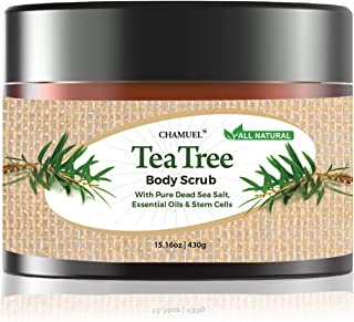 Chamuel Tea Tree Body & Foot Scrub - 100% Natural Exfoliating Body Scrub with Dead Sea Salt, Plant-based Stem Cells, Ginge...