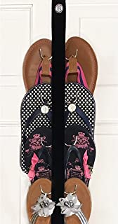 Boottique New- Flip Flop and Sandal Hanger Black Velvet Ribbon with Metal Hooks